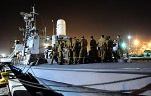 Gaza convoy attack: Israeli sailors in the navy base in Haifa
