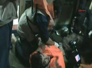 Gaza convoy attack: An injured passenger on a Turkish ship