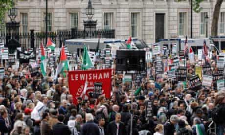 Pro-Palestinian demonstrators block Whitehall