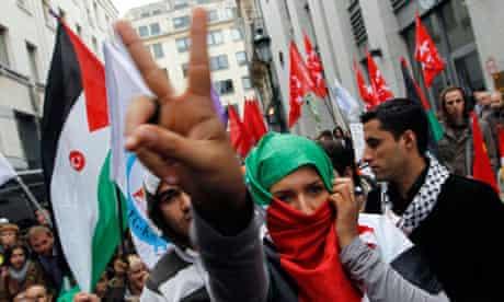 Brussels protest at Israeli flotilla attack