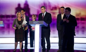 Martin Argles election: 29 April: Gordon Brown and key aides inspect the podium