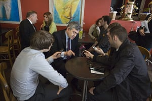 Martin Argles election: 1 May: Gordon Brown talks to local journalists at Newcastle railway station