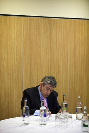 Martin Argles election: 1 May: Prime Minister Gordon Brown makes notes before a poster launch