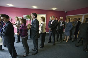 Martin Argles election: Members of the cabinet line up in Birmingham before poster launch.