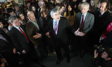 Gordon Brown speaks to students at Warwickshire College in Leamington Spa