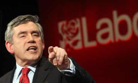 Gordon Brown gives a speech to party supporters at Granada Studios in Manchester