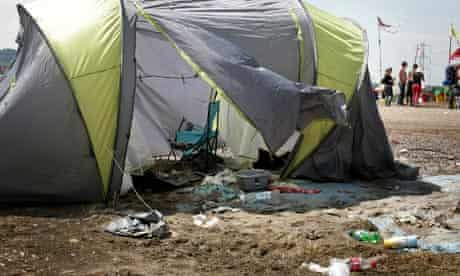 One of the many tents left abandoned on Worthy Farm after the 2009 Glastonbury Festival