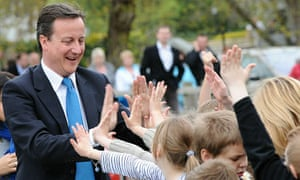David Cameron at Dafydd Llwyd school in Newtown in Wales on 5 May 2010.