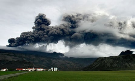 A plume of ash rises from a volcano erupting under the Eyjafjallajokull glacier, Iceland