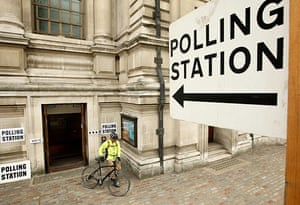 Polling: A voter leaves the Methodist Central Hall in Westminster