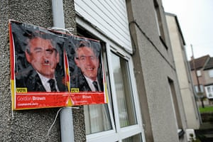 Polling: A defaced poster of Gordon Brown in North Queensferry