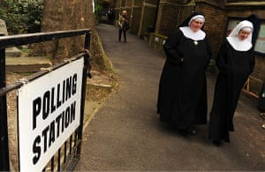 Voting Gallery: Nuns voting at St. John's Lancaster Gate, polling station