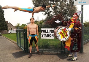 Voting Gallery: Artists from Zippos Circus, at polling station in Sidcup, Kent