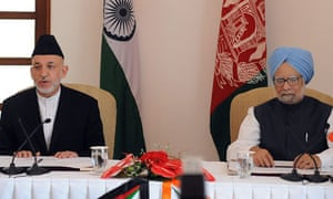 Hamid Karzai, the Afghan president, and Manmohan Singh, the Indian prime minister, in New Delhi