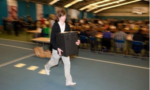 Ballot boxes are run in during the Houghton and Sunderland election count