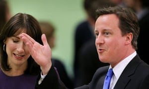 David Cameron with his wife Samantha at the count in  in Witney