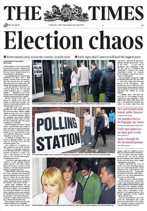 Election day front pages: The Times
