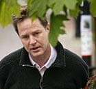 Nick Clegg outside his home in south London