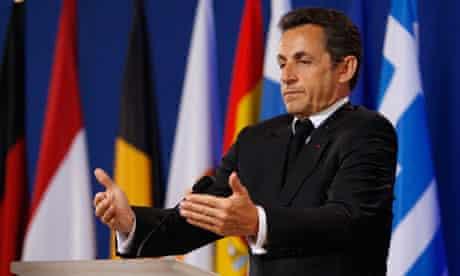 Nicolas Sarkozy addresses a press conference