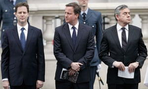 Nick Clegg, David Cameron and Gordon Brown attend a VE day ceremony