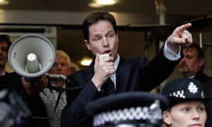 Nick Clegg addresses protesters calling for electoral reform