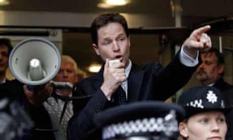 Nick Clegg addresses protesters calling for electoral reform