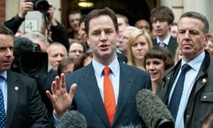 Liberal Democrat leader Nick Clegg addresses media