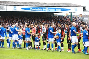 Chesterfield : The Chesterfield players shake hands with the Bournemouth players