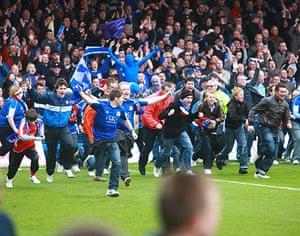 Chesterfield : Chesterfield fans invade the pitch at the end of the match