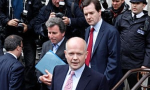 Oliver Letwin, William Hague and George Osborne arrive for talks with the Liberal Democrats
