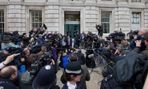 William Hague and his team arrive at the Cabinet Office to meet the Lib Dems