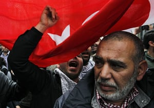 Israel protests: Demonstrators hold Turkish flags outside Belgian foreign affairs building