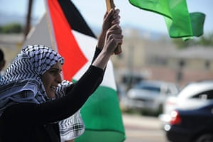 Israel protests: A demonstrator protests against the Israeli commando raid in Los Angeles