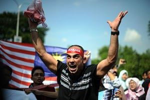 Israel protests: An anti-Israel protester shouts in front of the US embassy in Kuala Lumpur