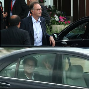 Bilderberg delegates: This fellow in his limo seems very sure of himself