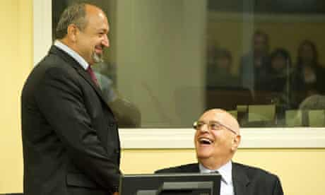 Vujadin Popovic, left, and Ljubisa Beara during their trial at The Hague war crimes tribunal