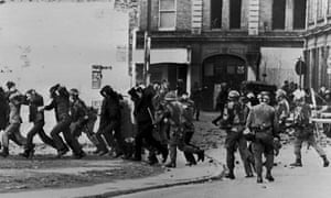 British paratroopers take away civil rights demonstrators after the Bloody Sunday massacre