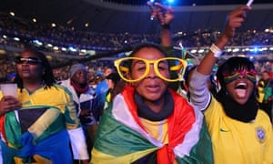 Fans at the  World Cup  concert at the Orlando Stadium, Soweto, Johannesburg, South Africa