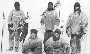 Scott's Terra Nova expedition party at the south pole, January 1912