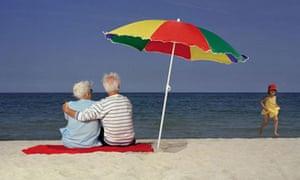 Retirees on beach