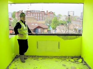 Market Estate Demolition: The Fluorescent Yellow Room has been stripped back ready for the bulldozers