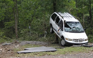 Arkansas floods: A van damaged by flash flooding at Albert Pike campground
