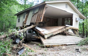 Arkansas floods: Debris around cabins on Little Missouri River after a flash flood