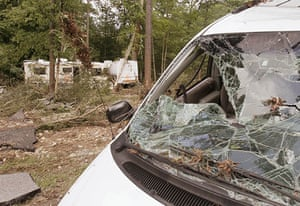 Arkansas floods: A van and motor homes damaged by flash flooding at Albert Pike camp ground