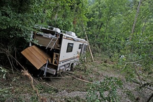 Arkansas floods: A flooded RV damaged by flash flooding at Albert Pike campground