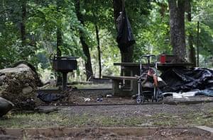 Arkansas floods: A stroller and a grill at Albert Pike camp ground near Caddo Gap, Arkansas