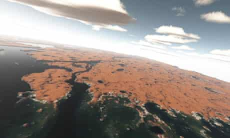 Artist's impression of a Martian ocean shoreline seen from the air 3.5bn years ago