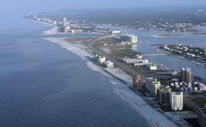 BP oil spill: Deepwater Horizon oil spill: A light sheen of oil along Orange Beach