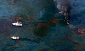 Clean-up boats in the Gulf of Mexico