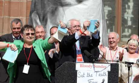 John Kelly tears up a copy of the Widgery report after reading the Saville report